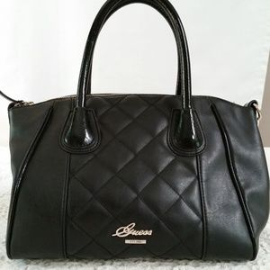 GUESS SAN JOSE QUILTED SATCHEL PURSE BLACK VG47390